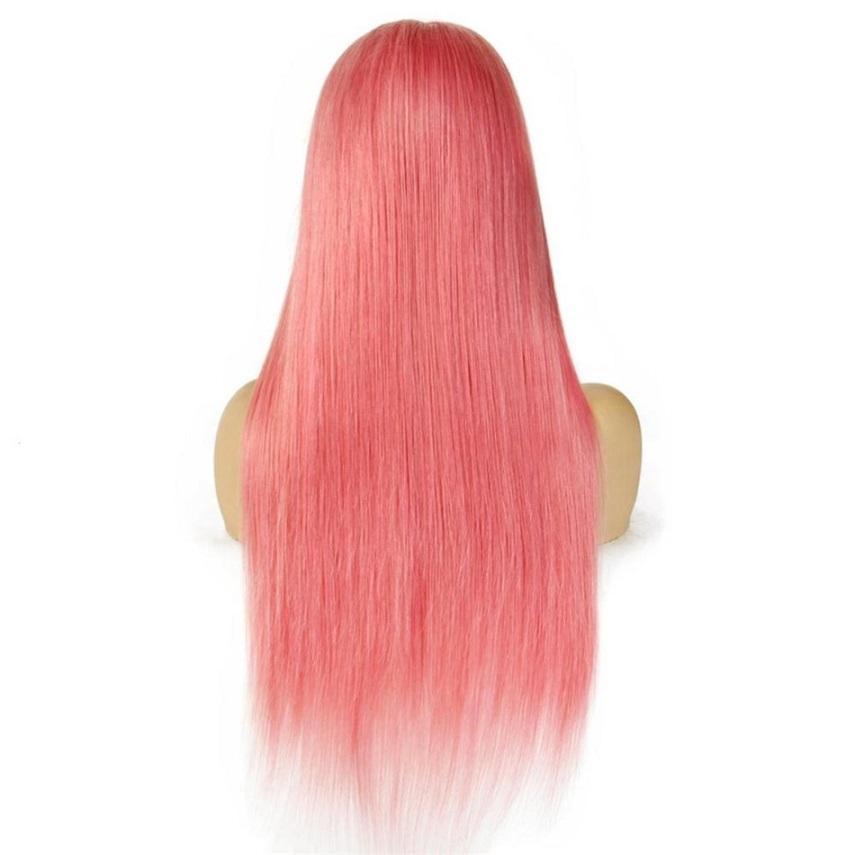 الباروكة الوردي الملونة الإنسان الشعر الباروكات البرازيلي مستقيم 13x4 الدانتيل الجبهة الباروكة 8-26 بوصة قبل التقطه أومبير الرباط الباروكة ريمي 150٪