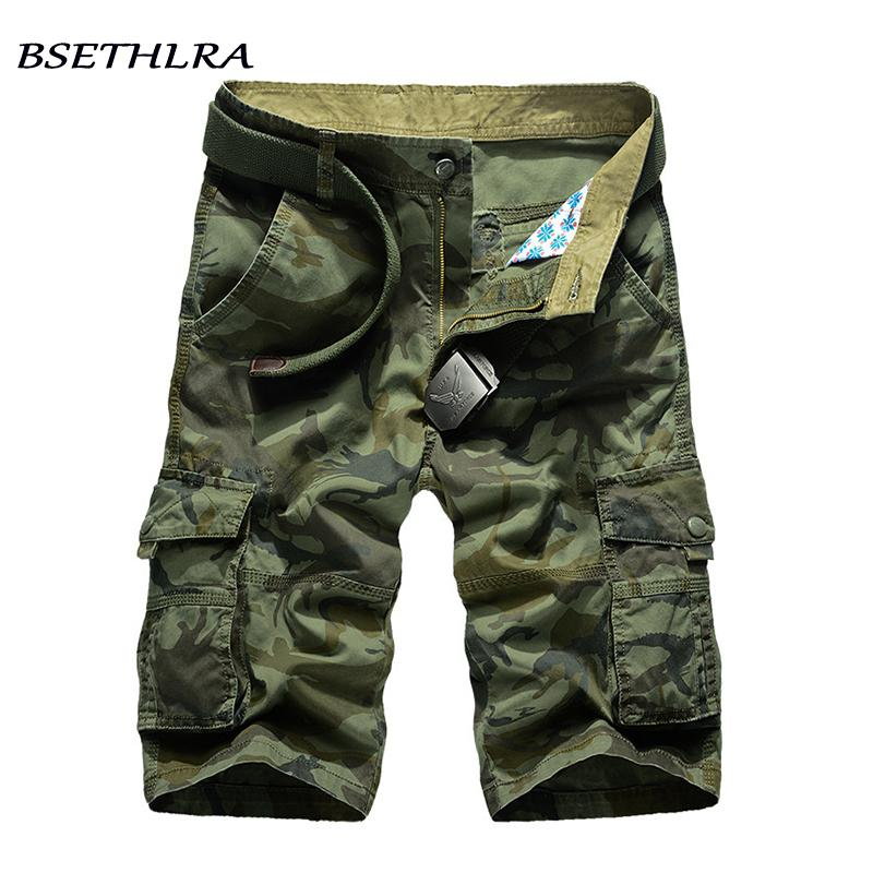 Bsethlra Yeni Kargo Şort Erkekler Yaz Üst Tasarım Kamuflaj Askeri Rahat Şort Homme Pamuk Moda Marka Giyim 210306