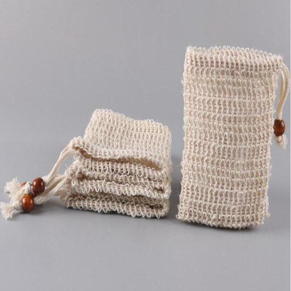 EXFALIATING الطبيعية شبكة الصابون التوقف سيسال الصابون التوقف حقيبة الحقيبة حامل لحمام الاستحمام رغوة والتجفيف