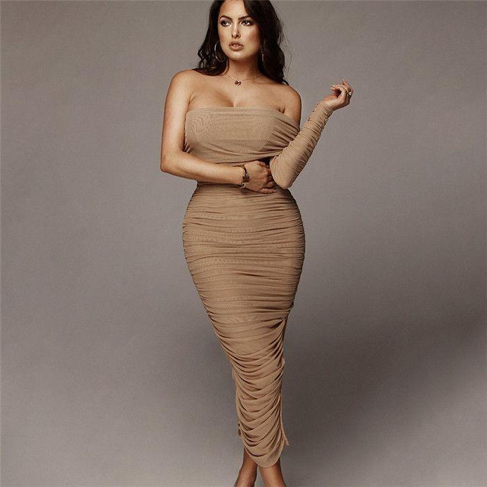 Damen Sommer Designer Sexy Kleid Mode Mesh Einzelne Ärmel Schlitz Schulter Split Kleid