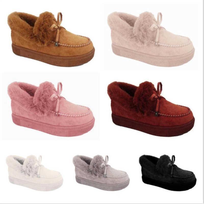 여성 짧은 부츠 플러시 낮은 탑 플랫 바닥 레저 신발 낮은 튜브 라운드 발가락 디자이너 겨울 스노우 부츠