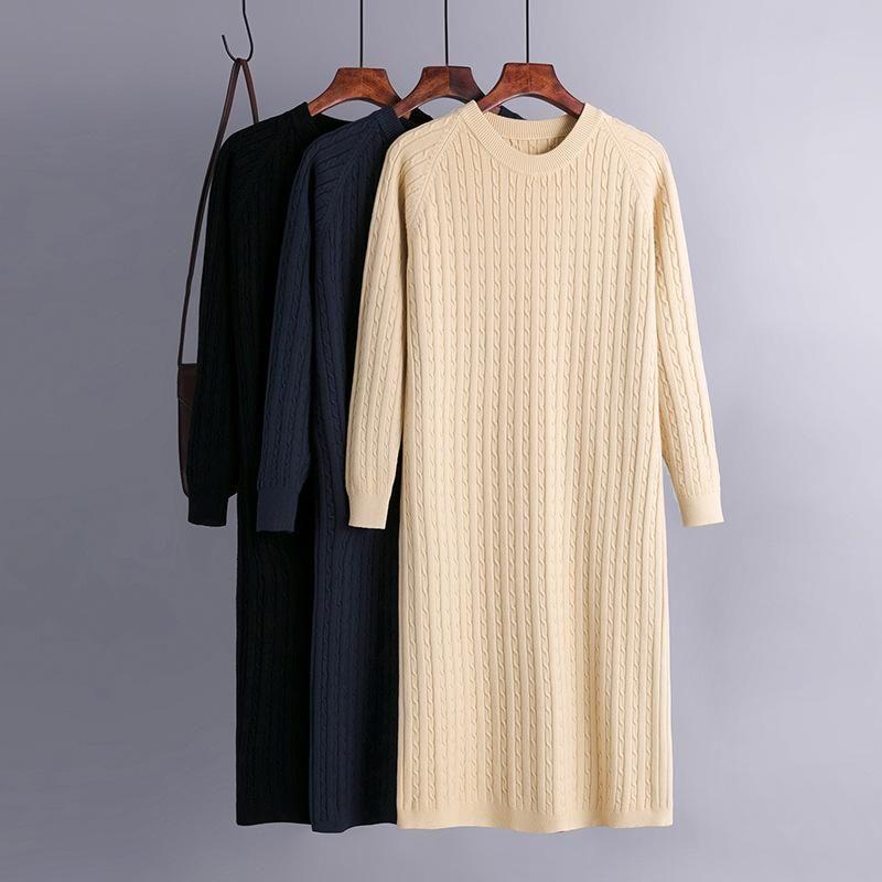 캐주얼 드레스 기본 가을 겨울 스트레이트 스웨터 드레스 우아한 니트 가운 O 넥 여성 느슨한 긴 여성 세련된