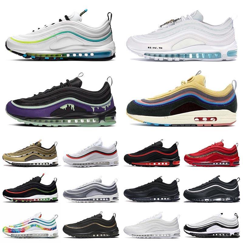 Nike Air Max 97 Airmax 97s Schuhe Hochwertige Herren Laufschuhe Halloween MSCHF x INRI Jesus Sean Wotherspoon Black Bullet White Purple Herren Damen Turnschuhe Turnschuhe