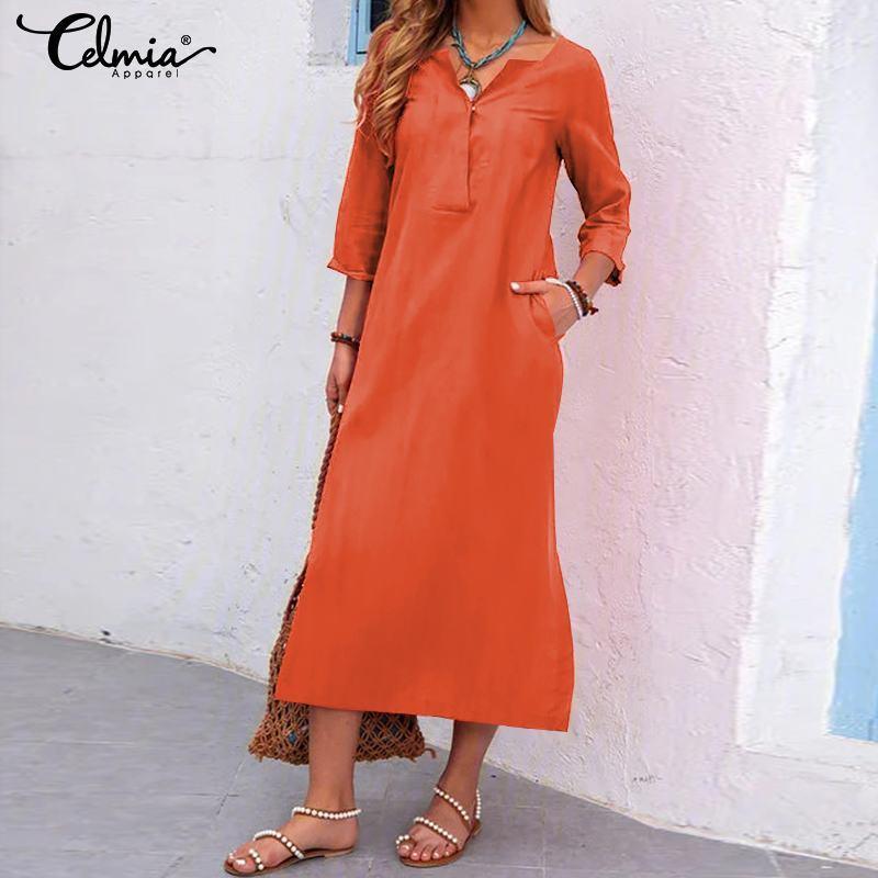 Günlük Elbiseler Celmia Katı Kadınlar Vintage Elbise 2021 Moda Bayanlar 3/4 Kollu Seksi V Boyun Midi Cep Artı Boyutu Vestido İş Robe