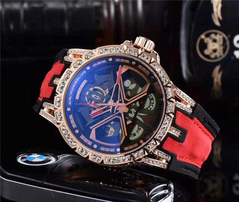 Homens Relógio Analógico 46mm Movimento de Quartzo Data Calendário All Discagem de Couro Strap Orologio Uomo Luxo Montre de Luxe Designer Relógios