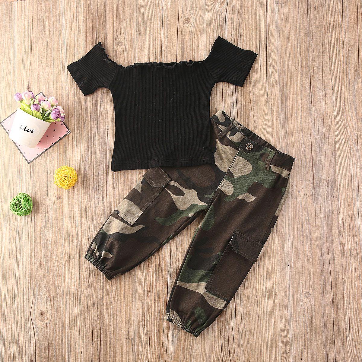 1-6Y Mode-Säuglingsbaby-Mädchen-Kleidung setzt Schulter-T-Shirts-Tops + Tarn-Pants 2pcs Kinder-Kindersätze
