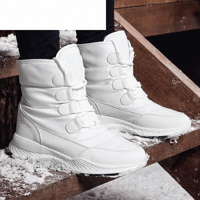 Ячеистые женские ботинки зима белый снег ботинок короткий стиль сопротивления воды верхние не скольжения качества плюшевые черные ботас Mujer invierno v8c7 #