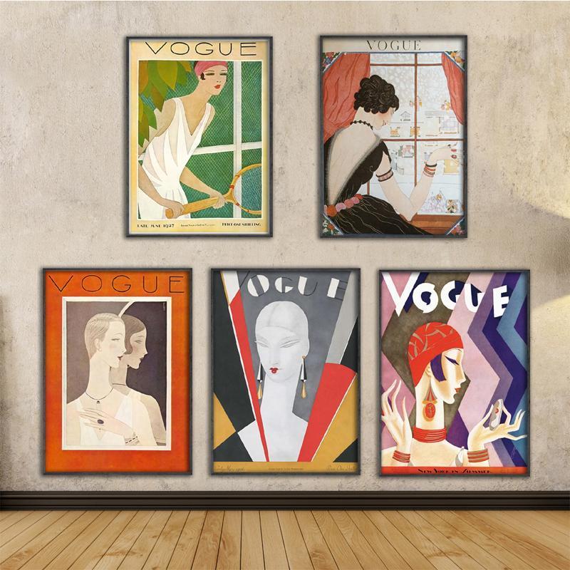 Peintures Toile Art mural Vintage Imprimés Cuadros Vogue Affiches Figure Figure Noir Peinture Blanche Nordic Style Maison Décoratif Modular Photos