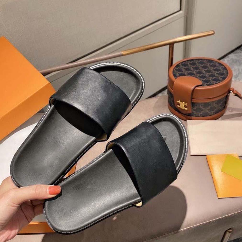 Sandales en caoutchoux d'été de haute qualité Sandales en caoutchouc de plage Slide Slip Scuffs Pantoufles Chaussures d'intérieur Taille EUR 35-41 avec encadré 01