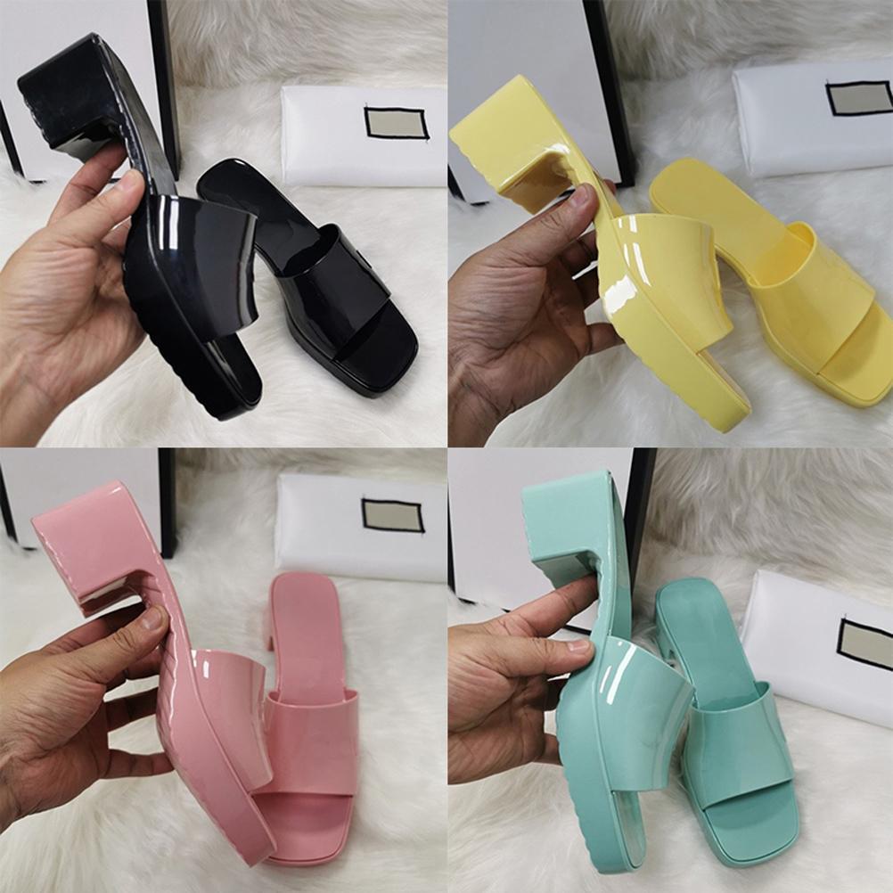 Kaliteli Kadın Terlik Moda Plaj Kalın Alt Terlik Platformu Alfabe Lady Sandalet Deri Yüksek Topuk Slaytlar Terlik ayakkabı02 06