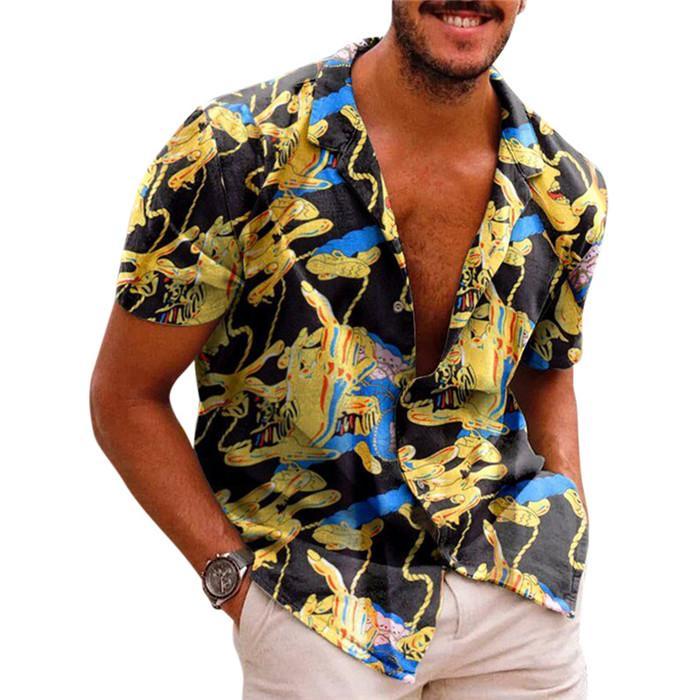 Loose Mens Button Up Shirts Floral Lapel Neck Short Sleeve Summer Shirt Casual Fashion Men Vaction Top