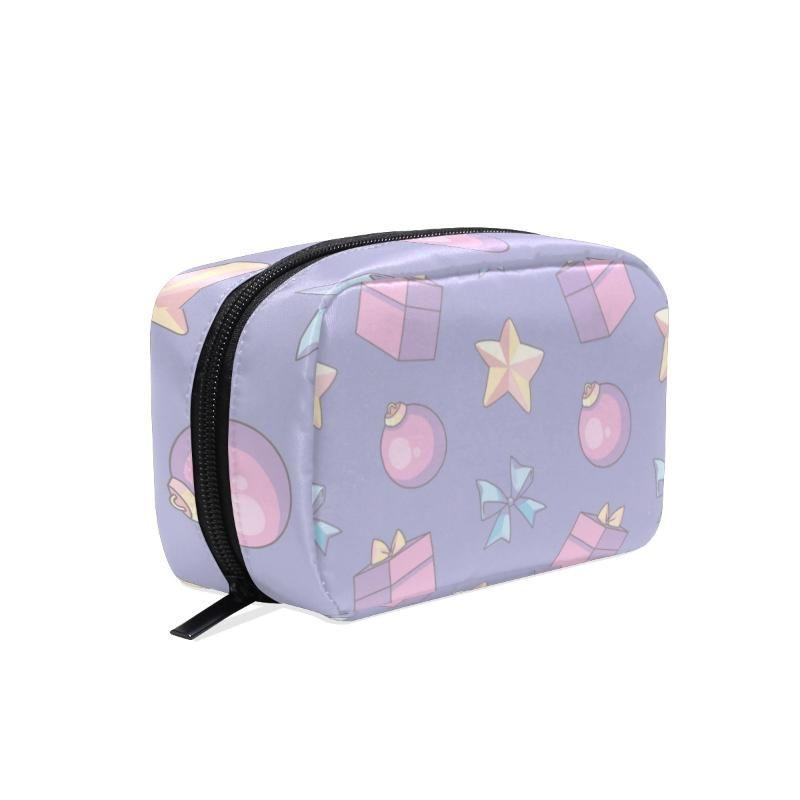 Fengju Maquillaje Cosmetic Bag Portable Bolsa de artículos de aseo Moda Organizador cuadrado para niñas Lady Woman Linda Navidad Regalo