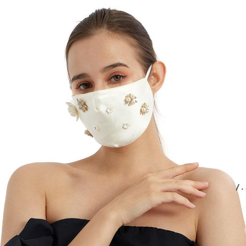 Новое поступление, дружественный на кожу Silk дизайнерские маски дамы с алмазной пыленепроницаемой шелковой хлопковой маской зимой защитная маска BWF5507