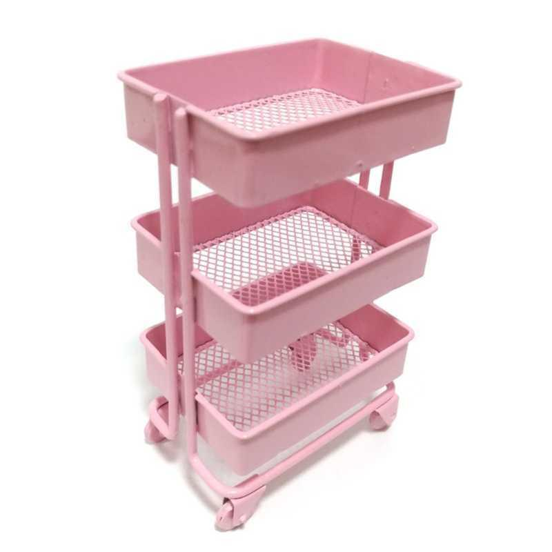 Mini-Trolley-Bodenlagerständer mit Rädern Puppenhaus Miniaturmöbelregal A0603
