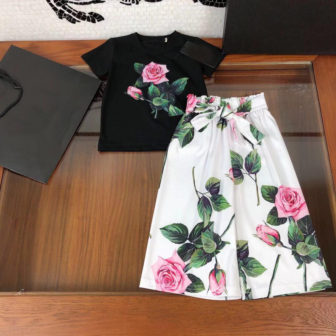 2021 Spring Kids Filles Fashion Deux PCs Fleurs Ensembles Baby Girl Pull Tops + Pantalon floral en coton lâche