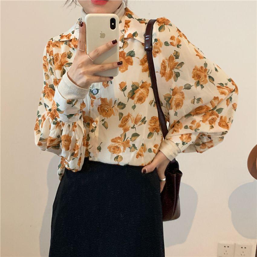 2021 Bahar Yeni Kadın Şifon Baskı Bluz Gömlek Kollu Kadın Ofis Gömlek Lady Blousa Kıyafetler DS40