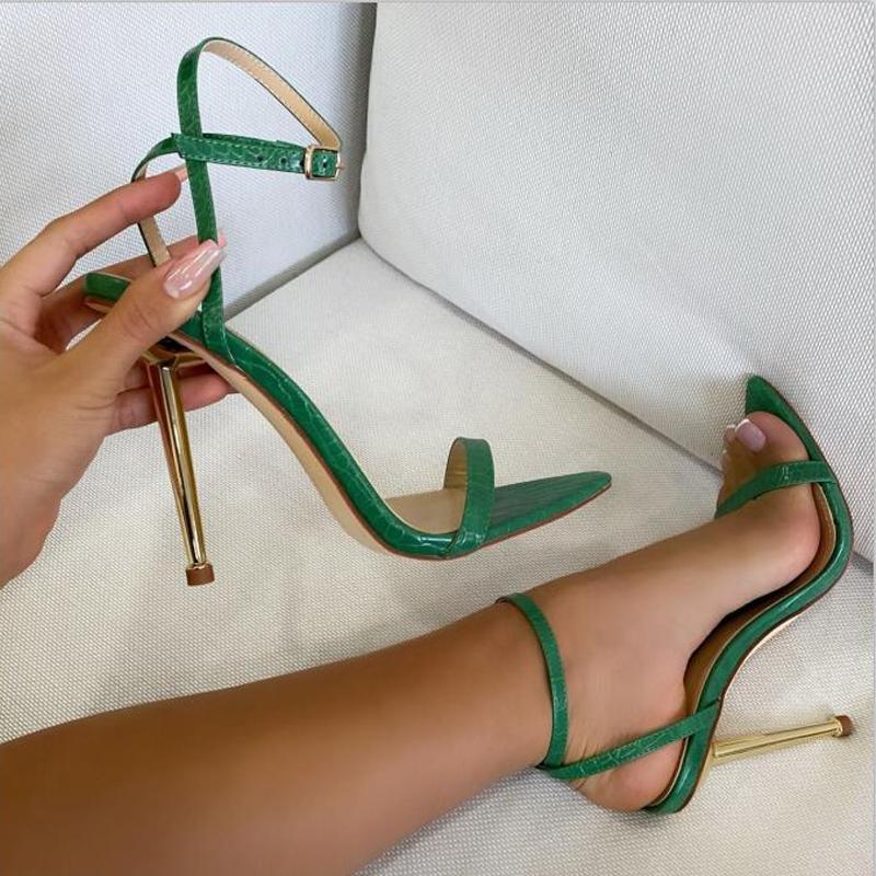 Сандалии заостренные открытые пальцы на лодыжках тонкие высокие каблуки летняя пряжка вечеринка платье обувь зеленые насосы падение корабля