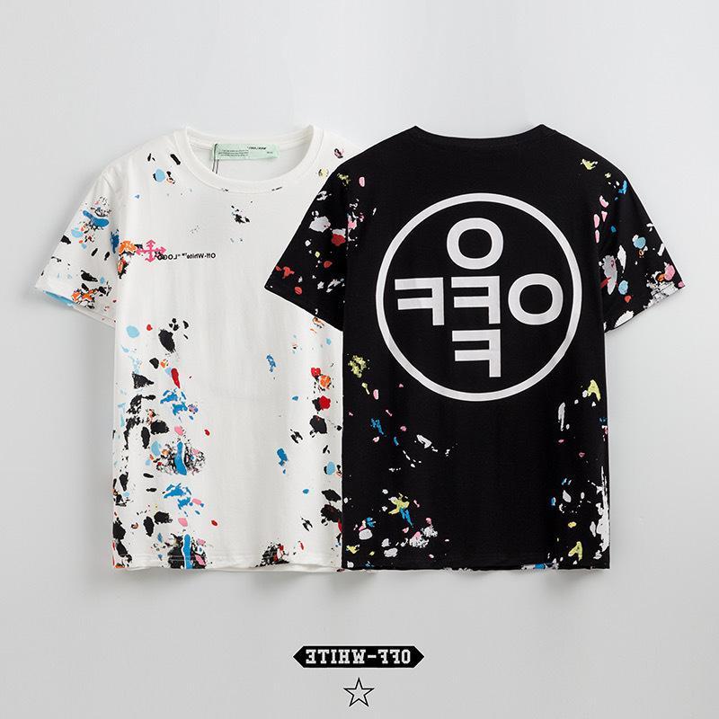 New York Sınırlı El Boyalı Yıldız Sky Fireworks Graffiti Baskı Stil erkek ve kadın Kısa Kollu T-shirt Severler Tee