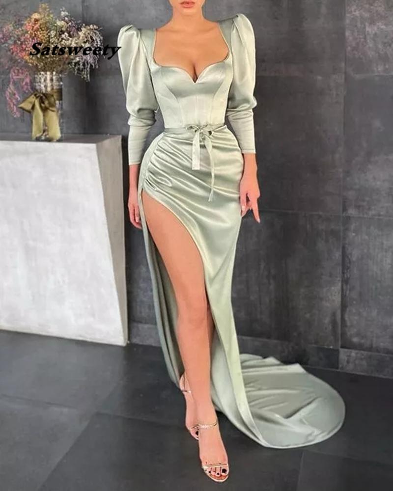 Vestidos Formales Mermaid Evening Dresses 2021 Long Sleeves Evening Gown Satin Abiye Vestido De Festa Side Slit Robe De Soiree