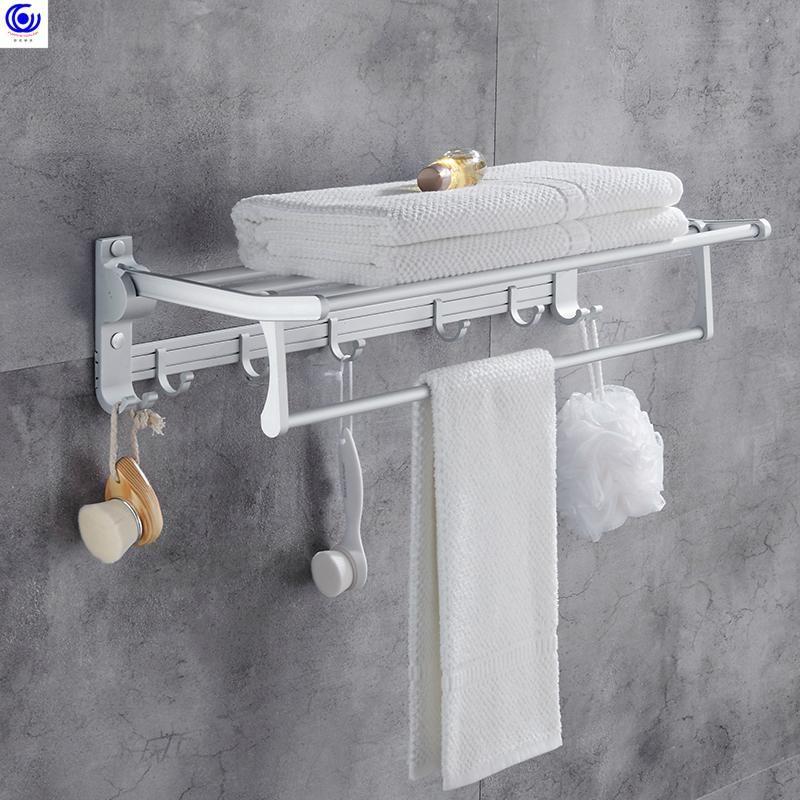 Aluminium Nail Free Free Складное полотенце Держатель Ванная комната Двойные полки с крючками Хранения Вешалка для хранения стойки Аксессуары для бурения