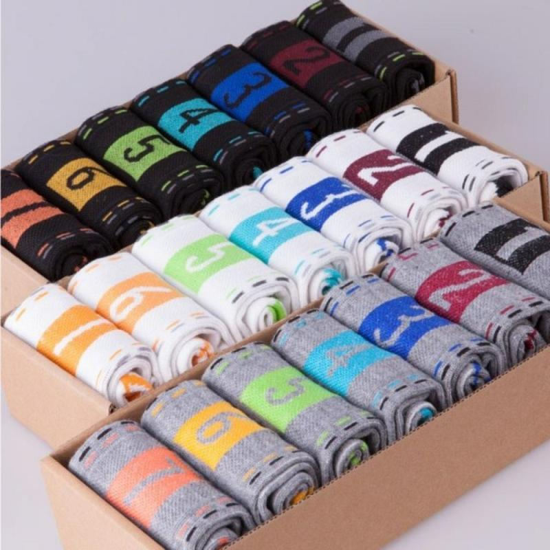 Men's Socks 7 Pairs/Set Fashion Men Week Crew High Quality Casual Comfortable Male Breathable Cotton Sports