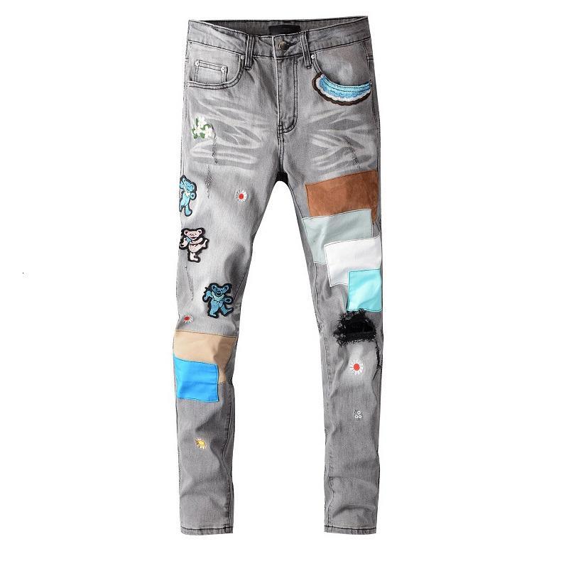 Erkekler Kot Stree Stil Pantolon Moda Yama Düz Pantolon Erkekler Pantolon Erkekler Rahat Jenas Fermuar Uzun Jeans 2020 Yeni Toptan