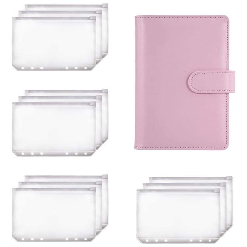 PPYY-A6 Binder Planner Pink Notebook Binder and 12 Pieces 6 Hole Zipper Folder,Binder Pockets Cash Envelope Wallet