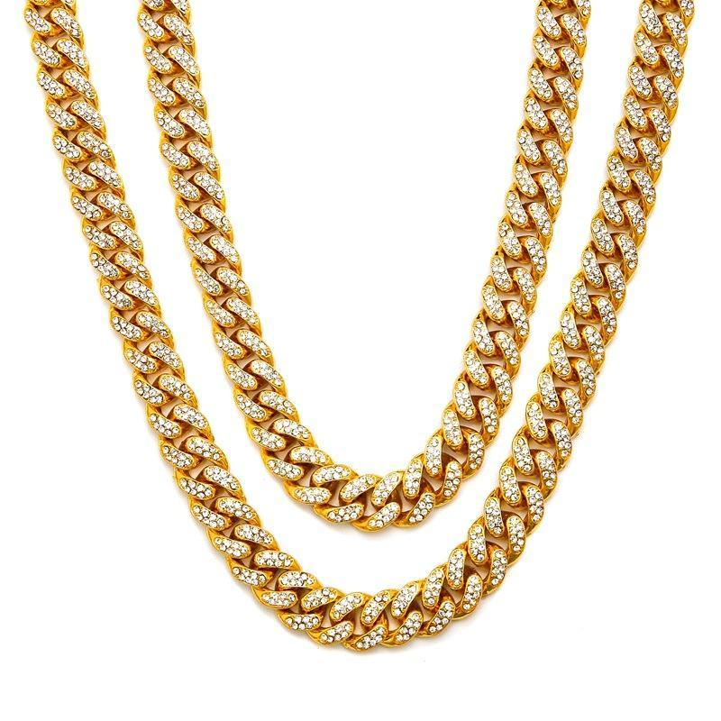 Chains Men Hip Hop Iced Out Bling Full Pave Rhinstones Chain Necklace Fashion Miami Cuban Necklaces Hiphop For Unisex Jewelry