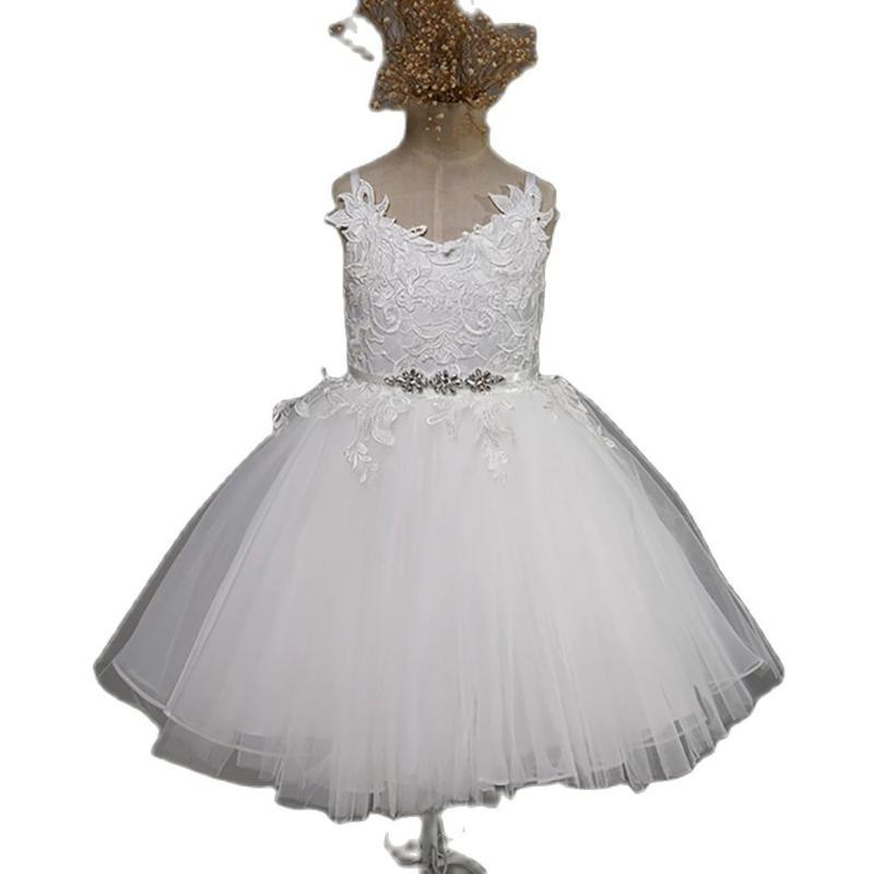 Girl's Dresses White Lace Flower Girl Vneck Sash Tulle Pageant First Communion Prom Ball Gown Princess Baby Party