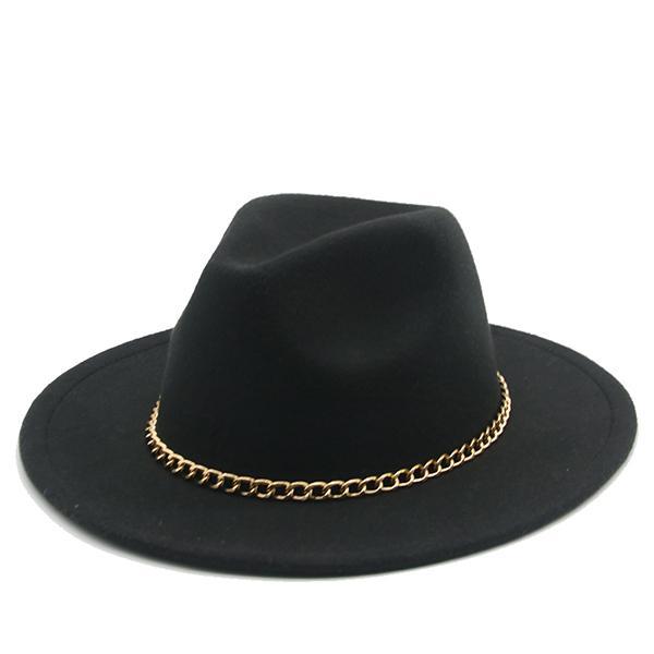 Kadın Şapka Yeni Altın Zincir Geniş Brim Klasik Yün Kilidi Kilise Düğün Pembe Batı Kovboy Şapka Siyah Beyaz Fedora Kış Şapka Kadınlar