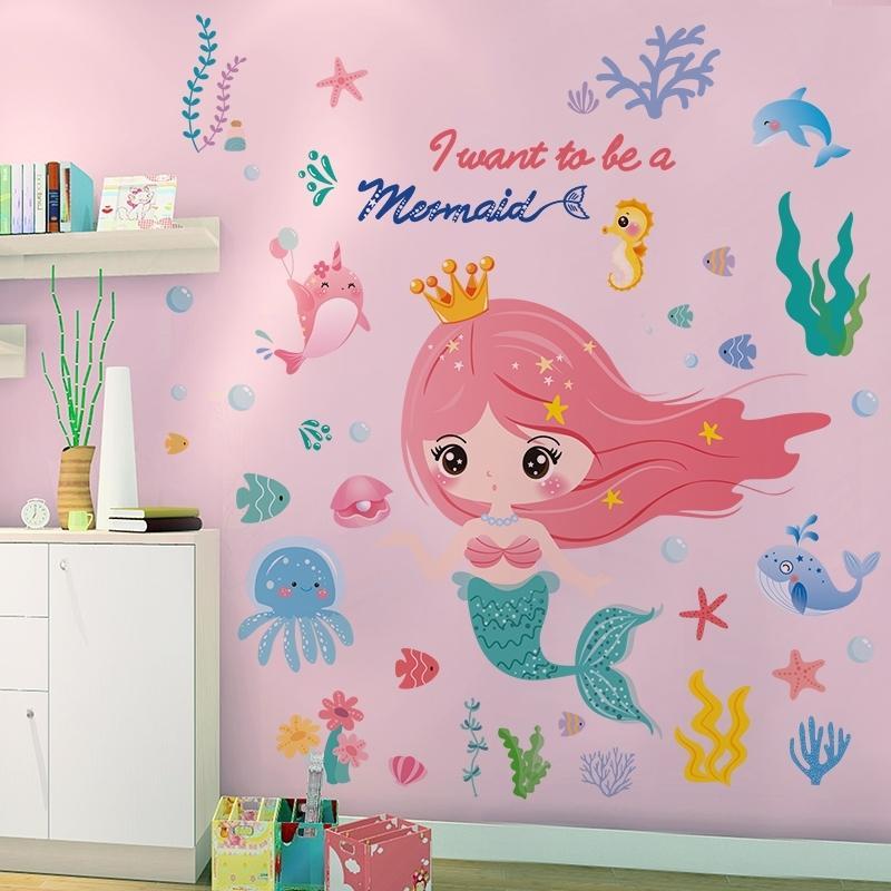 Mundo subacuático Sirena Etiquetas de la pared DIY Linquillas de pared para niños para niños Habitación de bebé Dormitorio de bebé Decoración del hogar 210310