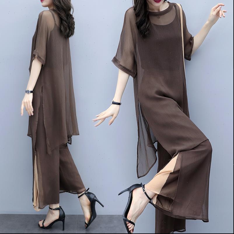 Verano elegante conjunto de tres piezas de algodón de algodón Tops de manga corta de cintura alta pantalones de pierna ancha conjuntos de gran tamaño dama pantalón W78