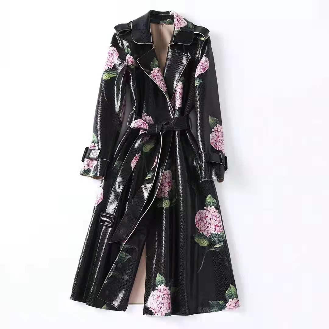 유럽 및 미국 여성 가을 2021 새로운 긴 소매 수국 인쇄 레이스 업 패션 스웨이드 트렌치 코트