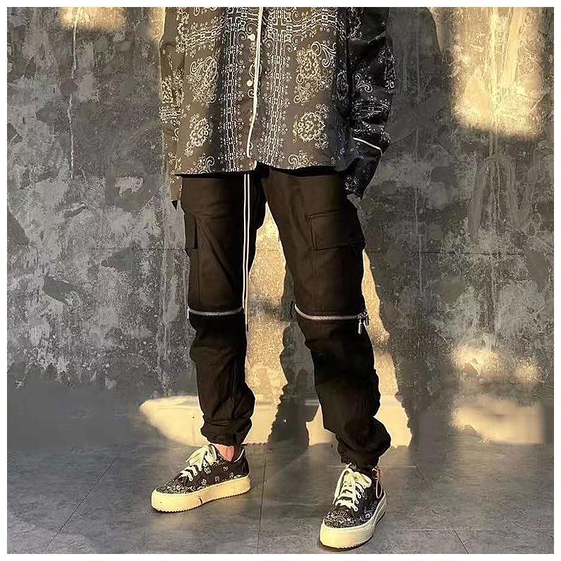 2021 Rhude Zipper Pocket Hip-hop Trousers Men's Drawstring High Street Punk Style Trendy Work Casual Pants Winter New U9IF