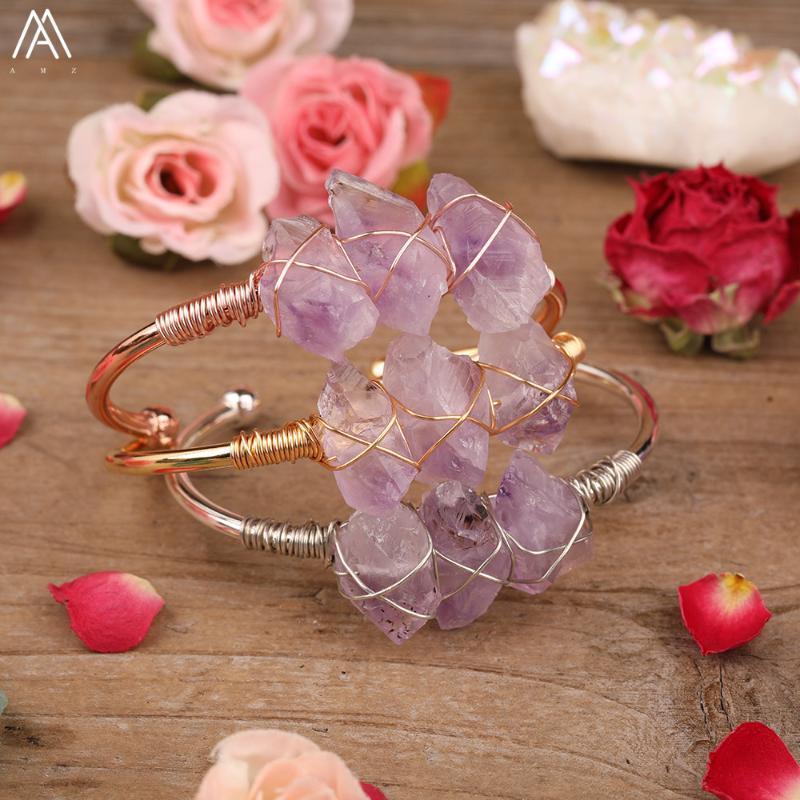 Природные аметисты кварцевые нерегулярные чип бусины манжеты браслеты браслеты браслеты пара фиолетовые хрустальные бусины золотые браслеты украшения