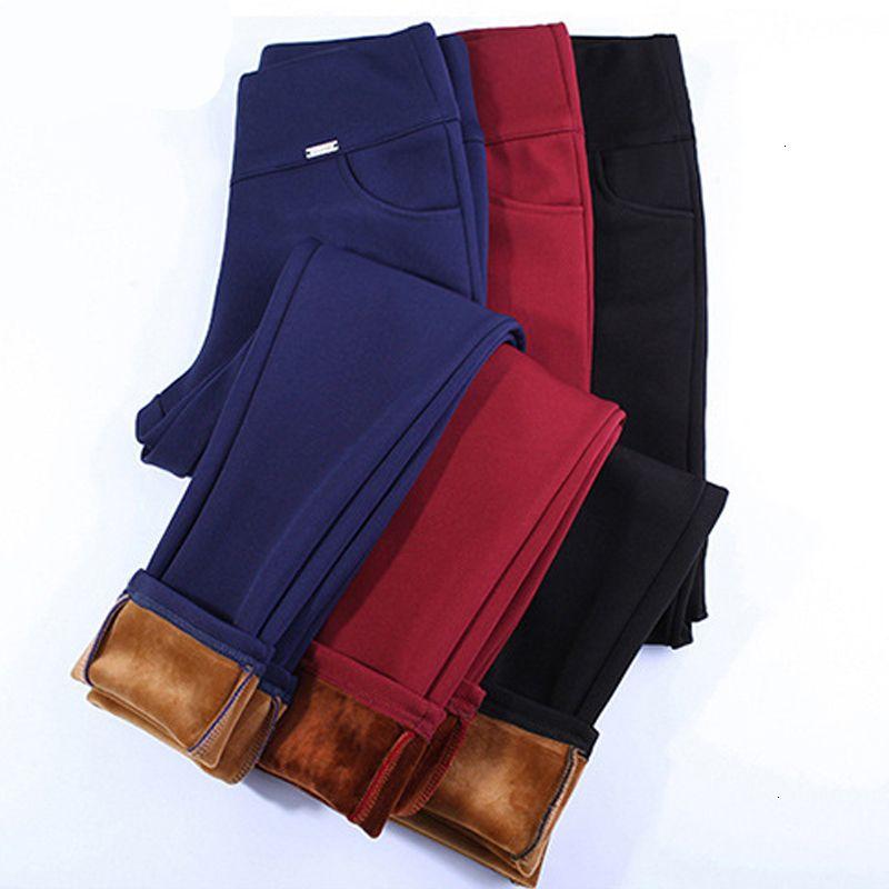 2021 Plus New Size Winter Streetwear Warm High Elastic Stretch Ny Pencil Pants Women Office Lady Leggings Trousers r TOL2