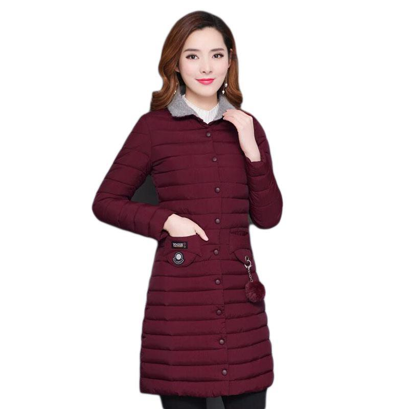 Kadın Aşağı Parkas 5XL Kadınlar Hafif Pamuk Giyim Bayanlar Kış Sıcak Ceket Pamuk-Yastıklı Artı Boyutu Kadın Ceket Uzun B057