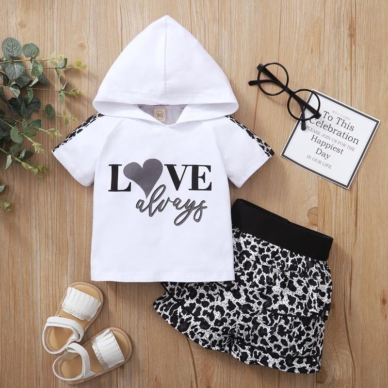 Conjuntos de ropa 40 # niños pequeños niños niña de manga corta letra impresa sudadera con capucha Top + leopardo Shorts Set Sportswear