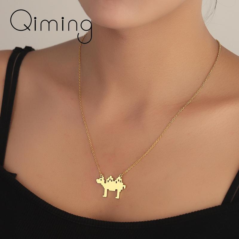 Симпатичные животные верблюда кулон ожерелье для женщин пустынные этнические украшения золотые цепи прекрасное винтажное ожерелье коллегию