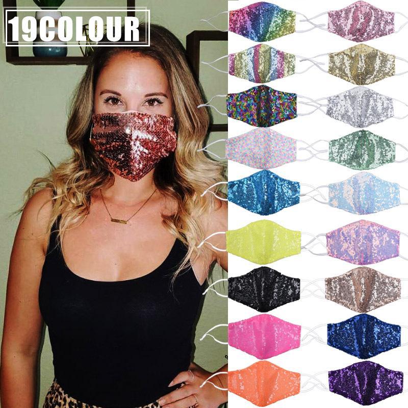 2 шт. Мода Bling 3D Моющаяся многоразовая маска PM2.5 Shield Shield Sun Gold Leving Sequins Блестящие маски для лица для PM2.5 Фильтр FY9238