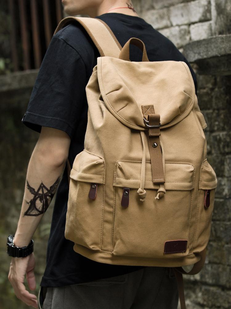 Mochila de lona de algodón Hombres Senderismo Bolsa de mochila con bolsas de postura de carga USB