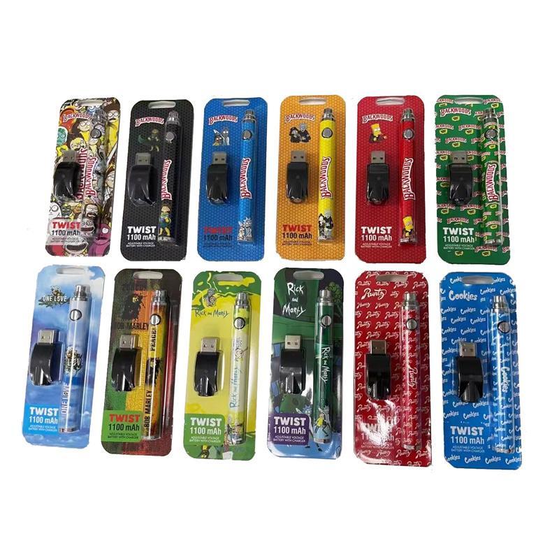 Backwoods runtz Bob Marley Biscuits Twist Batterie 1100mah 12 Styles avec chargeur d'ego Préchauffer le stylo de Vape
