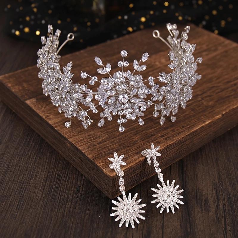 Cristales clásicos con cuentas coronas nupciales Tocado 2021 Estilo barroco Mujeres de cabeza para la fiesta de la tarde Ladies Tiaras Brides Accesorios para el cabello Pendientes Set al 9228