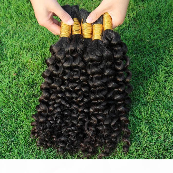Fim grosso Kinky Curly Bulk Bulk Cabelo Popular Kinky Curl Extensões de Cabelo Humano Indiano para Mulheres Negras Sem Anexo Cabelo Humano Bulk