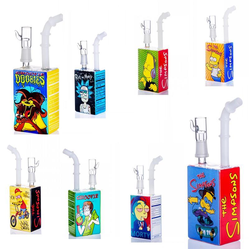 7,8 дюйма Hitman Square Box Jucie Разнообразие жидкостей Стеклянные бонги Курение кальян 14,4 мм мужской ногтей DAB Bubbler Downstem Bong