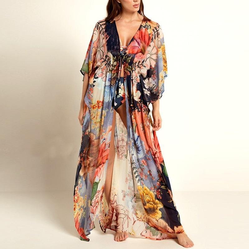 Женские Купальники [Nodelay] 2021 Плюс Размер Женщины Цветок Печатные Бикини Обложка Свободные Бикини Пляжное платье Pareo Пляж Sunscreen Kaftan