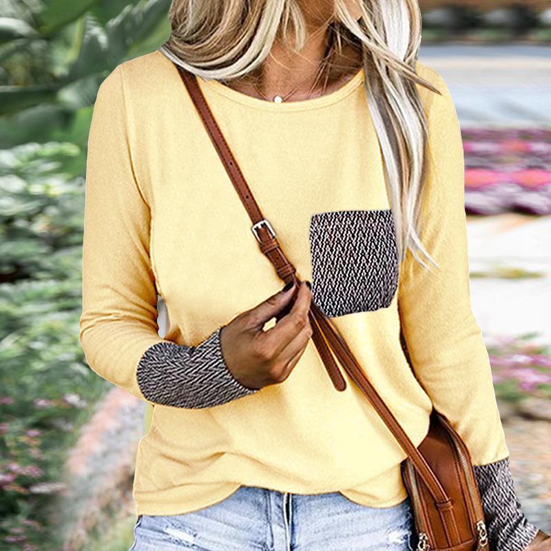 Outono nova moda cor sólida costura bolso em torno do pescoço solto casual t-shirt tops roupas femininas