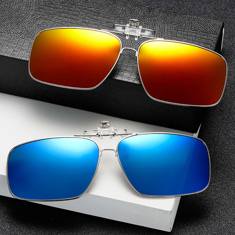 Vivibee Metal Metal Clip On per curiosità Spettacoli Polarizzati UV400 Donne Quadrato Night Vision Driving Occhiali da sole