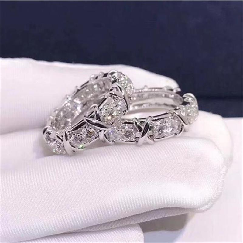 Choucong Ins Top Sell Wedding Rings Sparkling Luxury Jewelry 10KT White Gold Fill Round Cut Topaz CZ Diamond Gemstones Eternity Women Cross Band Ring For Lover Gift