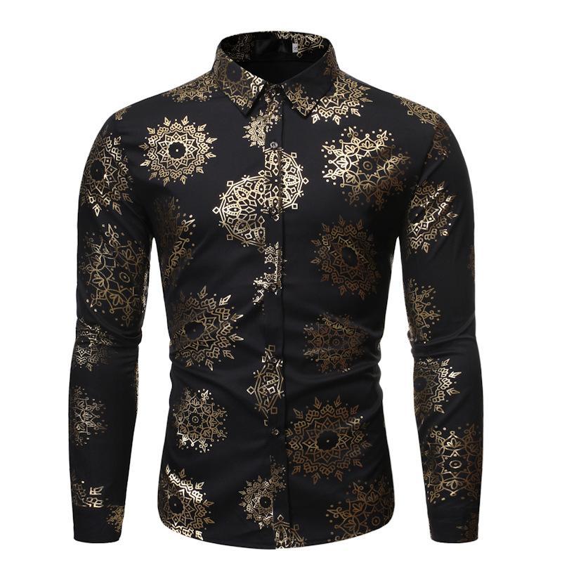 남자 버튼 아래로 shinny shirts 남성용 금 도금 꽃 인쇄 세련된 나이트 클럽 슈페리얼 슬림 맞춤 긴 소매 파티 드레스 셔츠 a20